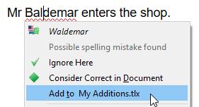 Adding word to a dictionary via context menu