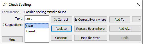 Spelling and grammar check routine dialog