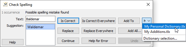 Spell check dialog adding to your dictionary