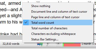 Status bar context menu