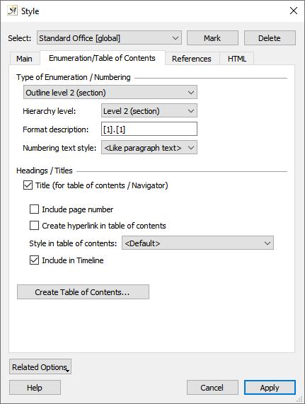 Style dialog enumeration tab