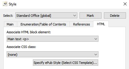 Style dialog HTML tab