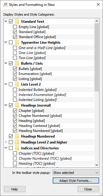 Style formats dialog