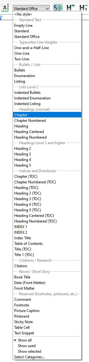 Predefined styles list