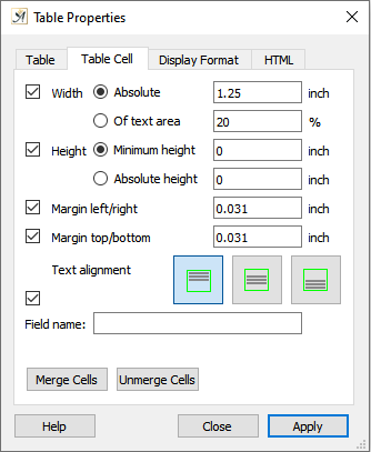 Table properties cell tab