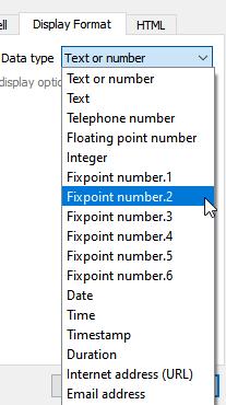 Table properties dialog display tab