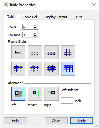 Table properties dialog