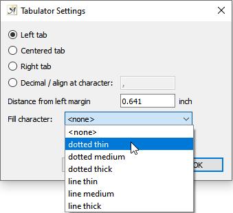 Tabulator settings dialog