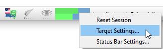 Target status toolbar menu