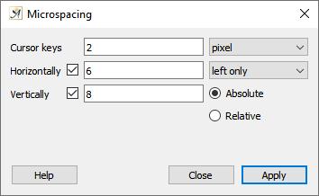 Text microspacing dialog