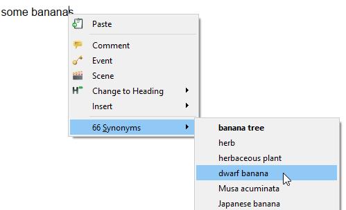 Thesaurus synonym selection