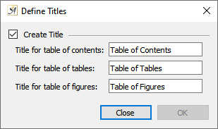 TOC define titles dialog