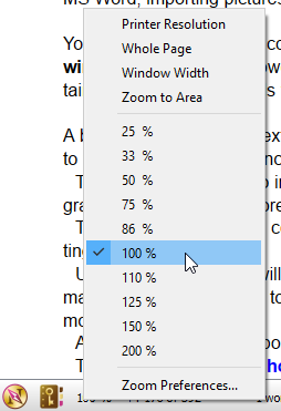 Zoom context menu