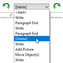 Undo redo toolbar dropdown