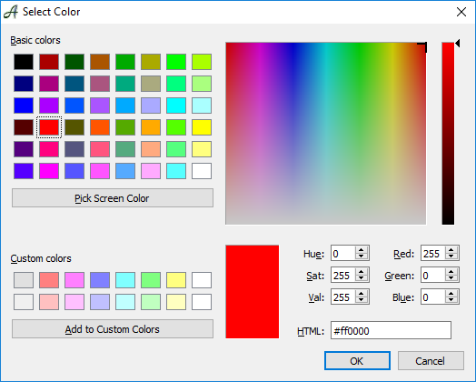 Colors for Documents, Text, Graphic Objects, Etc.