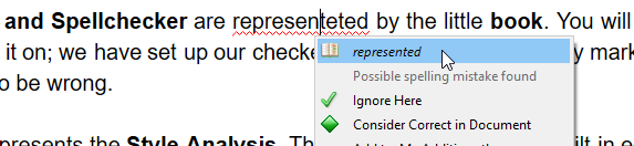 The spellchecker shows where a mistake slipped through.