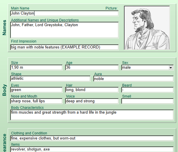 A protagonist in the Character Database