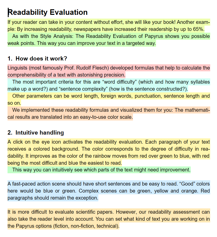 Papyrus shows readability by color.