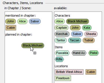Organizer Characters dialog