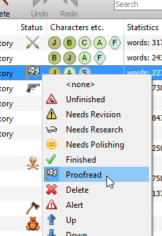 Status icons menu