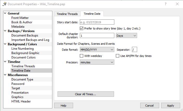 Timeline date dialog