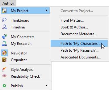 Author menu, my project sub menu
