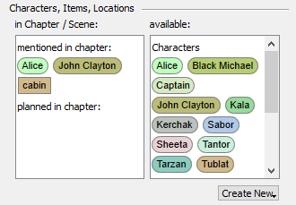 Organizer planning characters