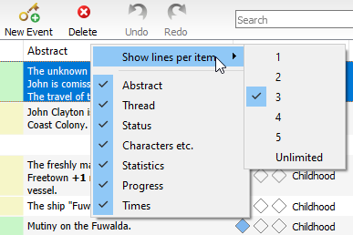 Organizer context menu