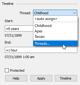 Timeline dialog in the Organizer