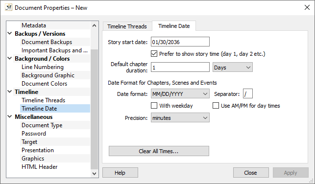 Document properties dialog timeline date tab