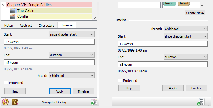 Timeline dialog in the Navigator and Organizer
