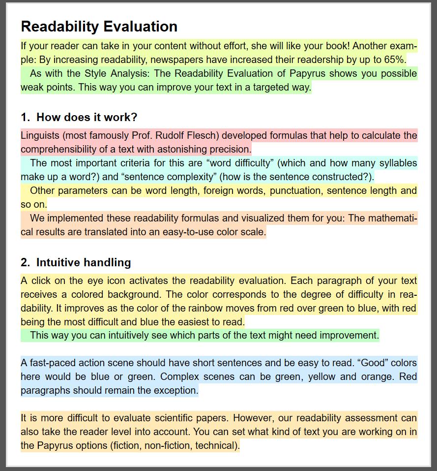 Readability analysis of Papyrus Author