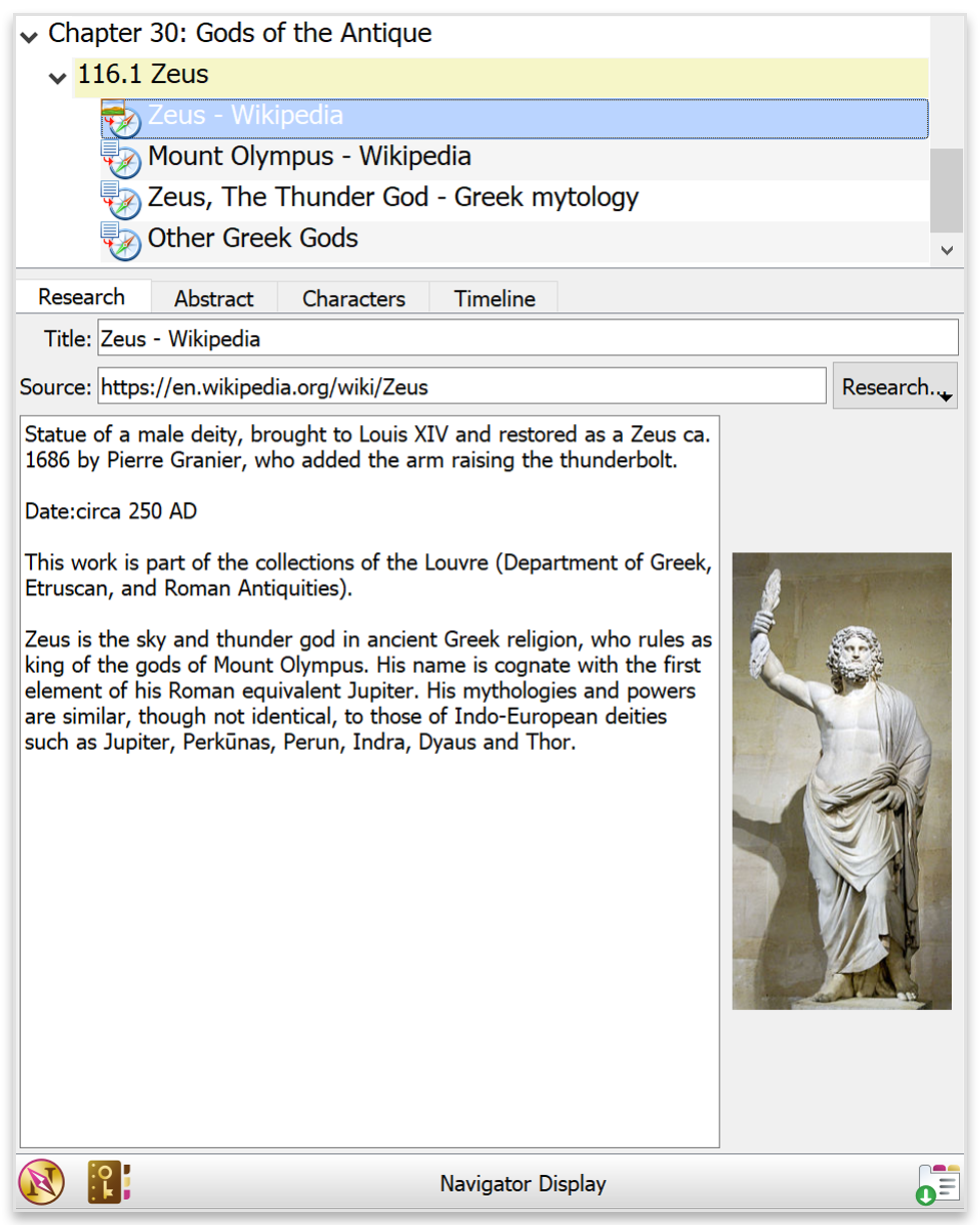 Research entry in Papyurus Author navigator