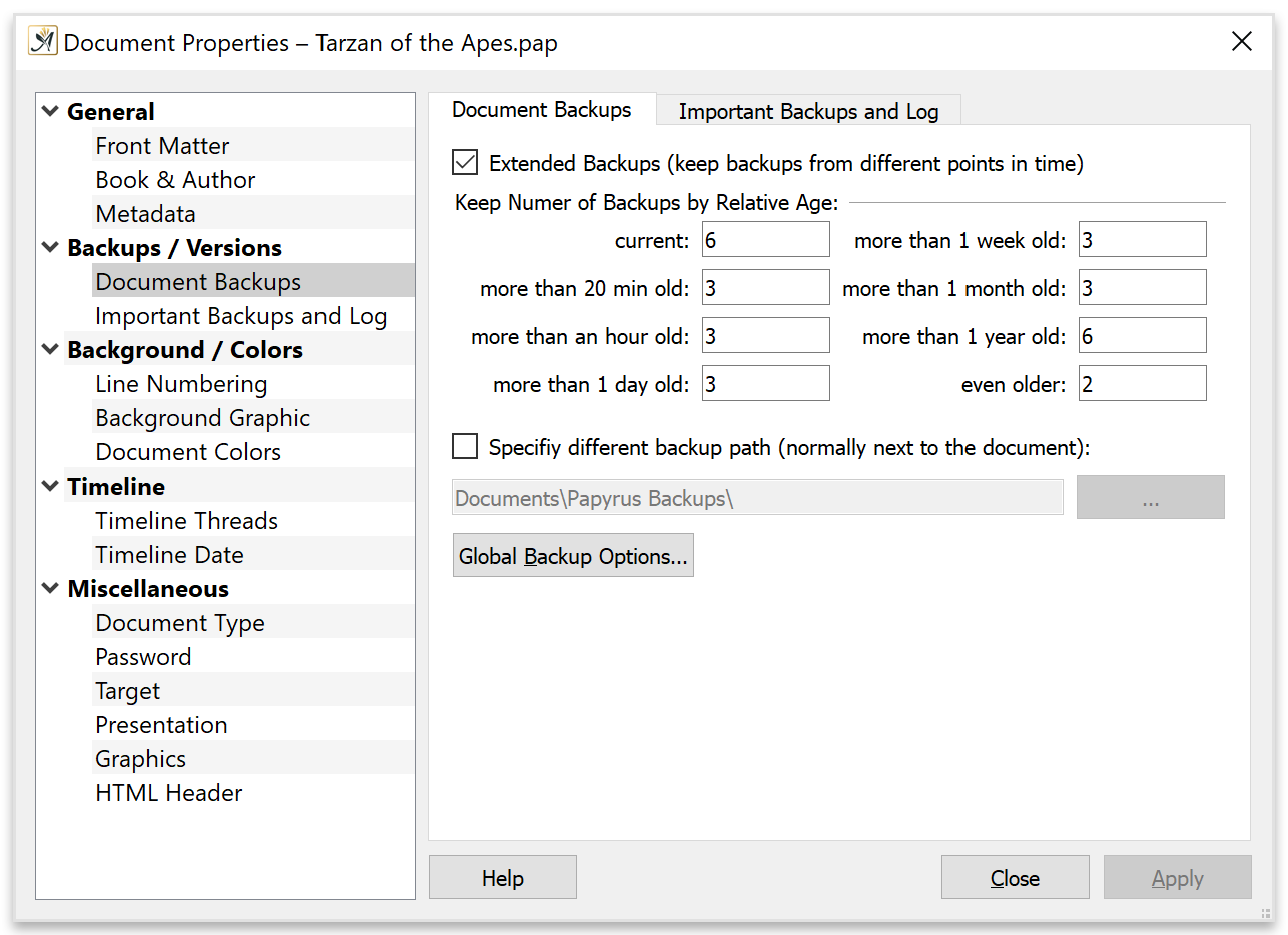 Backups function of Papyrus Author